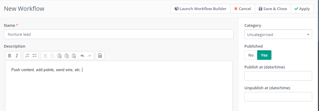 Launch Workflow Builder