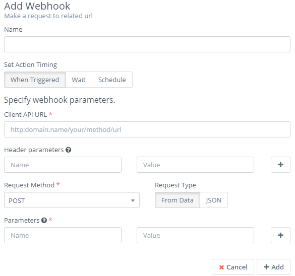 Add webhook form