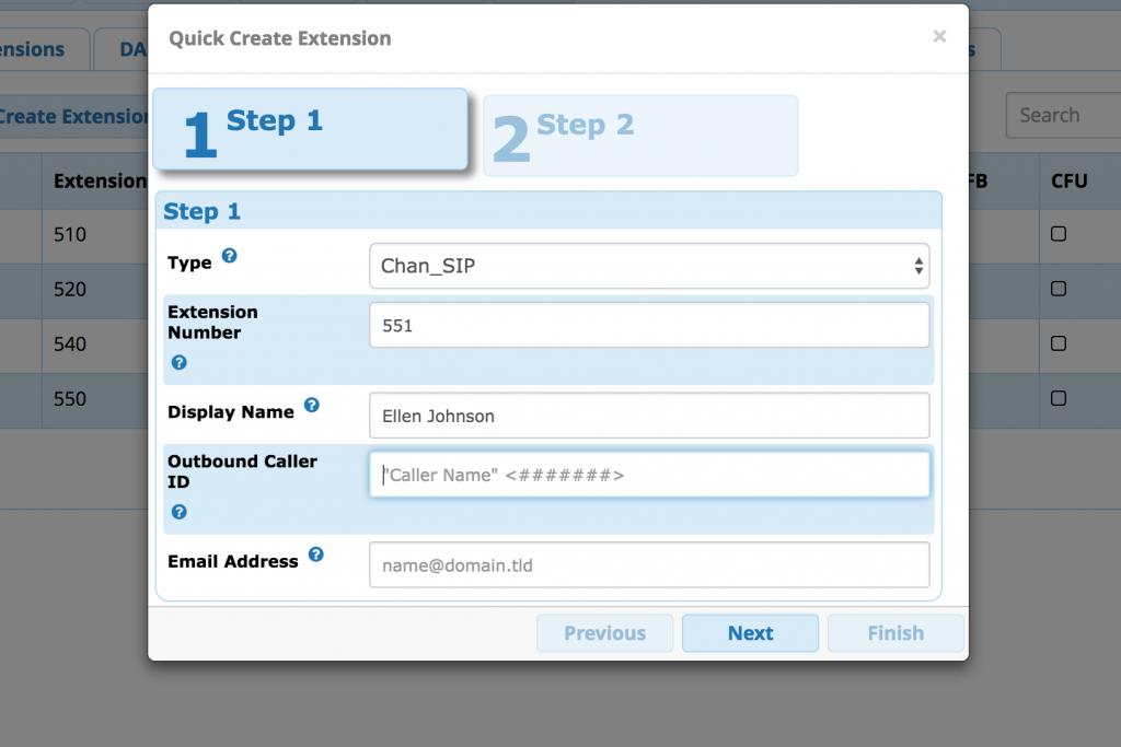 FreePBX add extension