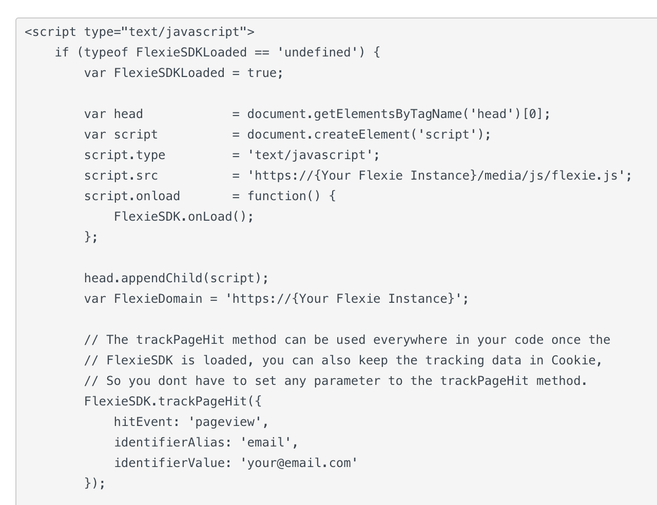 Flexie Tracking Code