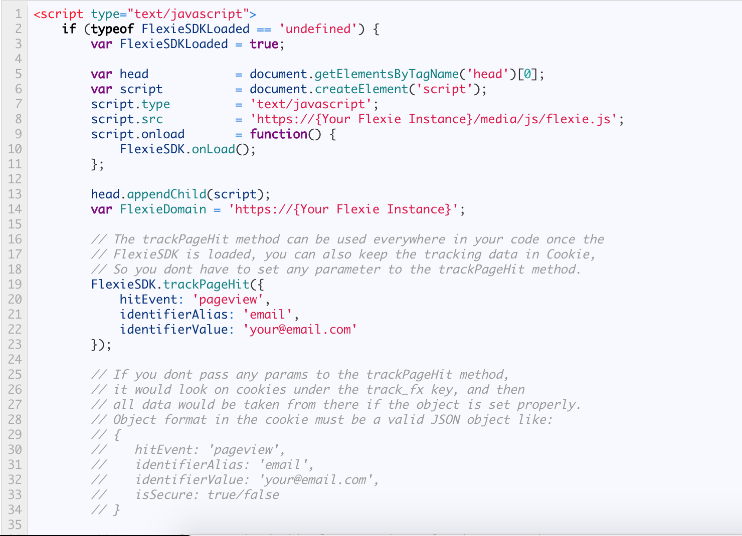 How to add Flexie tracking code in your website